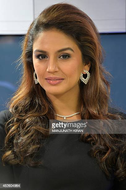 Indian Bollywood actress Huma Qureshi poses during the launch of the Forevermark diamond range of jewellery by De Beers in Bangalore on July 24 2014...