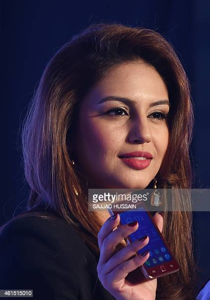 Indian Bollywood actress Huma Qureshi poses during the launch of the Samsung Z1 smartphone at a function in New Delhi on January 13 2015 The phone...