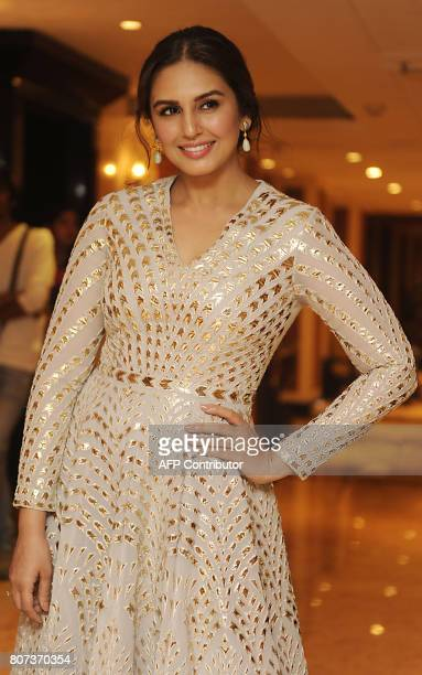 Indian Bollywood actress Huma Qureshi poses for a photograph during a promotional event for the forthcoming Hindi film 'Partition 1947' directed by...