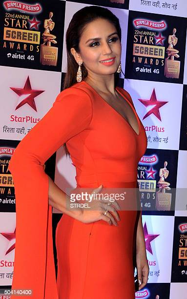 Indian Bollywood actress Huma Qureshi poses for a photograph during the Star Screen Awards 2016 ceremony in Mumbai on late January 8 2016 AFP PHOTO /...