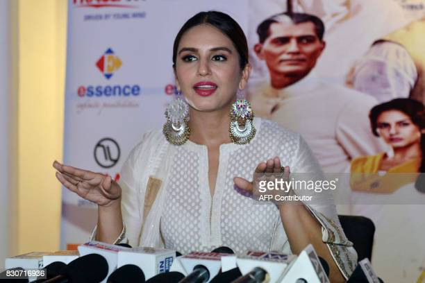 Indian Bollywood actress Huma Qureshi talks with the media during a promotional event for the forthcoming Bollywood film 'Partition 1947' at...