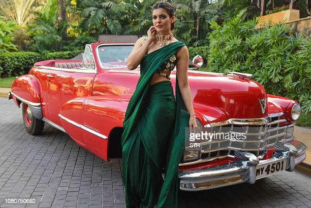 Indian Bollywood actress Ihana Dhillon poses for photographs at the 2019 Global Film Tourism Conclave event in Mumbai on January 11 2019