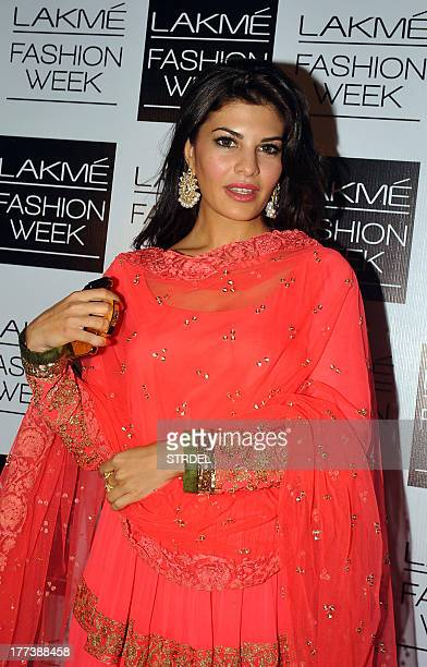 Indian Bollywood actress Jacqueline Fernandez attends the Lakme Fashion Week Winter/Festival 2013 in Mumbai on August 22 2013 AFP PHOTO/STR
