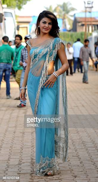 Indian Bollywood actress Jacqueline Fernandez on the sidelines of the set of television show Bigg Boss 8 in Lonavala on January 3 2015 AFP PHOTO/STR