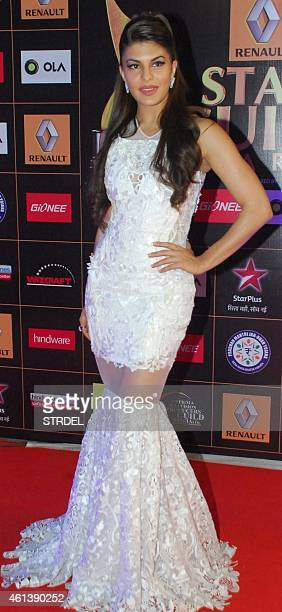 Indian Bollywood actress Jacqueline Fernandez poses for a photograph during the 'Star Guild Awards 2015' in Mumbai on late January 11 2015 AFP PHOTO...