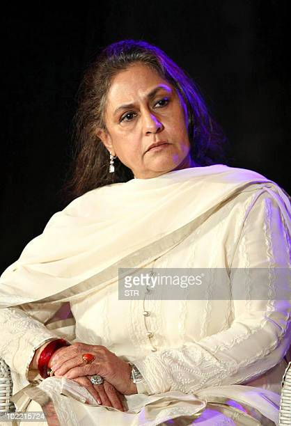 Indian Bollywood actress Jaya Bachchan attends the launch of photographer Gautam Rajadhyaksh�s Marathi coffee table book �Chehere� in Mumbai on June...