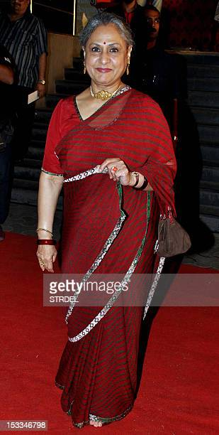 "Indian Bollywood actress Jaya Bachchan attends the premier of the Hindi film ""Chittagong"" directed by Bedabrata Pain in Mumbai on October 3 2012 AFP..."