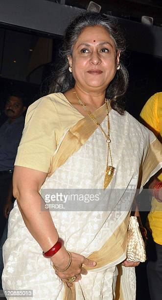 "Indian Bollywood actress Jaya Bachchan attends the premiere of Hindi film ""Aarakshan"" directed by Prakash Jha in Mumbai late August 11 2011 AFP..."
