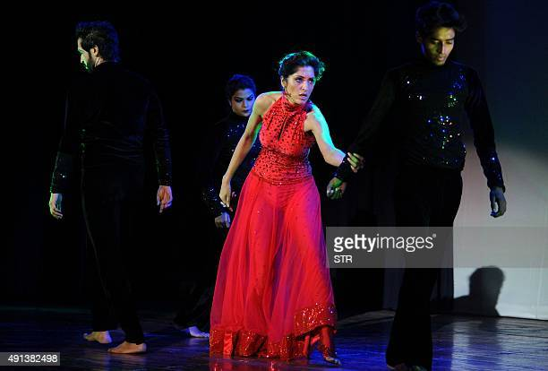 Indian Bollywood actress Jesse Randhawa performs in 'Hyacinth' a dance drama with a same sex love plot in Mumbai on October 4 2015 AFP PHOTO