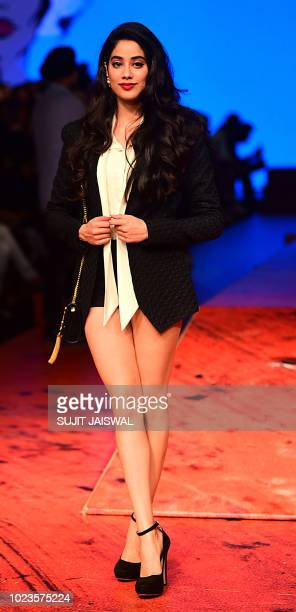Indian Bollywood actress Jhanvi Kapoor poses for a photograph during at Lakmé Fashion Week Winter/Festive 2018 in Mumbai late on August 25 2018