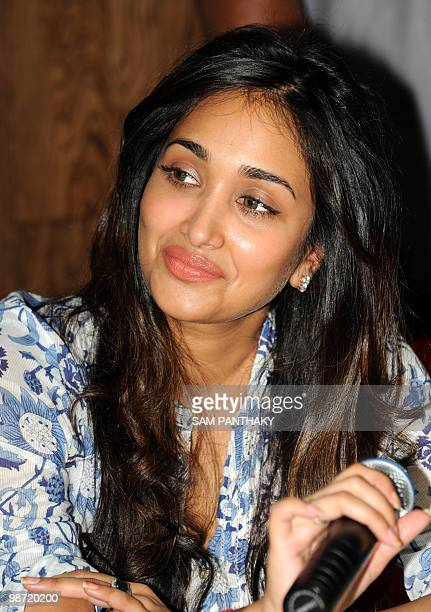 Indian Bollywood actress Jiah Khan addresses a press conference in Ahmedabad on April 28, 2010. Khan is starring in the film 'Housefull' together...