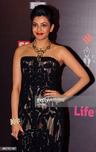Indian Bollywood actress Kajal Agarwal poses for a photograph during the Life OK Screen Awards 2014 ceremony in Mumbai on late January 14 2014 AFP...