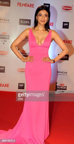 Indian Bollywood actress Kajal Aggarwal attends the '61st Filmfare Awards 2016' ceremony in Mumbai on January 15 2016 AFP PHOTO / AFP / STR