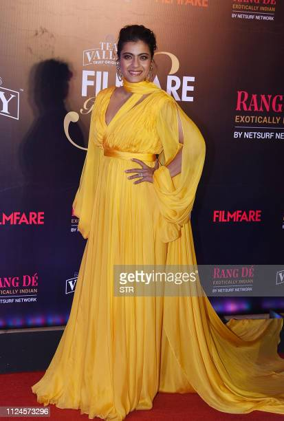 Indian Bollywood actress Kajol attends the Filmfare Glamour and Style Awards ceremony in Mumbai on February 12 2019