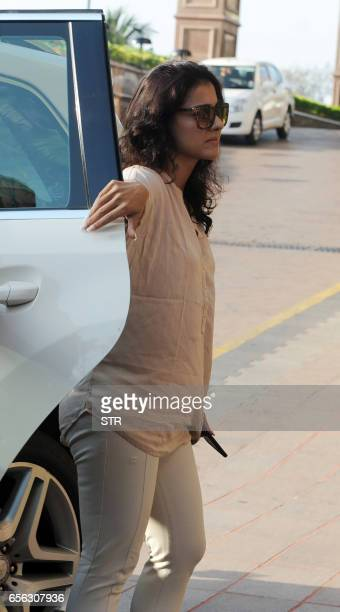 Indian Bollywood actress Kajol Devgan arrives to attend a prayer meeting for the late Krishnaraj Rai the father of actress Aishwarya Rai Bachchan in...