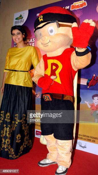 Indian Bollywood actress Kajol Devgan attends a promotional event for the forthcoming animation movie Mighty Raju Rio Calling in Mumbai on May 9 2014...