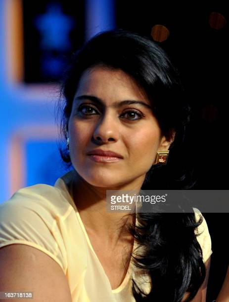 Indian Bollywood actress Kajol Devgan looks on at the Ficci Frames 2013 annual conclave of the media and entertainment industry in Mumbai on March 14...