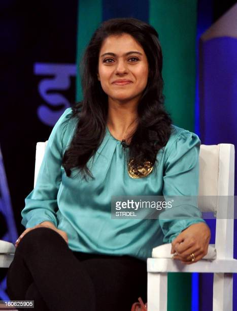 Indian Bollywood actress Kajol Devgan looks on during the Support My School telethon in Mumbai on February 3 2013 AFP PHOTO