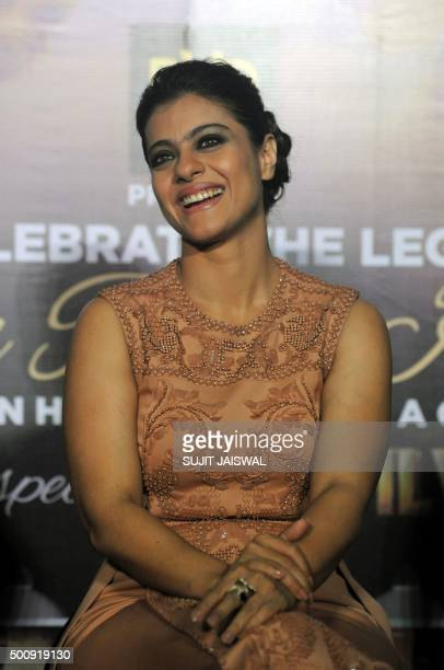 Indian Bollywood actress Kajol Devgn appears at a promotional event for upcoming Hindi film 'Dilwale' in Mumbai on December 11 2015 AFP PHOTO/Sujit...