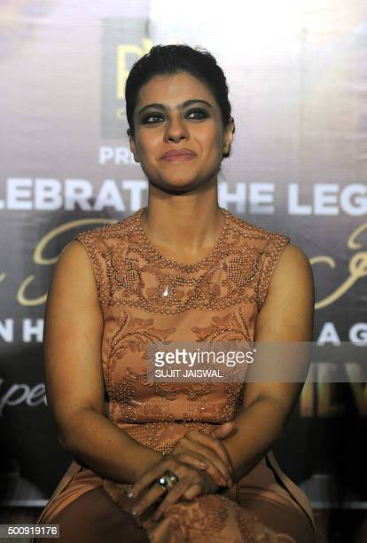 Indian Bollywood actress Kajol Devgn appears at a promotional event for upcoming Hindi film Dilwale in Mumbai on December 11 2015 AFP PHOTO/Sujit...