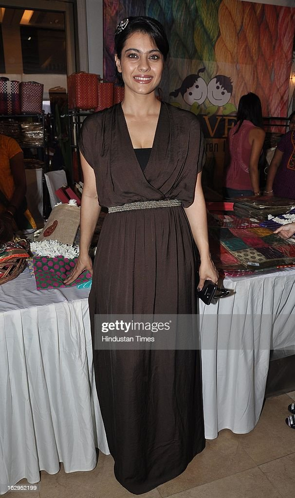 Indian bollywood actress Kajol Devgn at charity exhibition `Aariash` organised by Suneil Shetty`s wife Mana Shetty for 'Save The Children' NGO at...