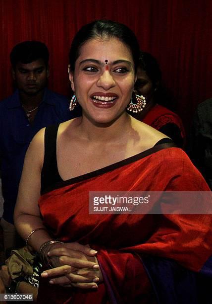 Indian Bollywood actress Kajol Devgn attends celebrations of the North Bombay Sarbojanin Durga Puja in Mumbai on October 9 2016 / AFP / SUJIT JAISWAL