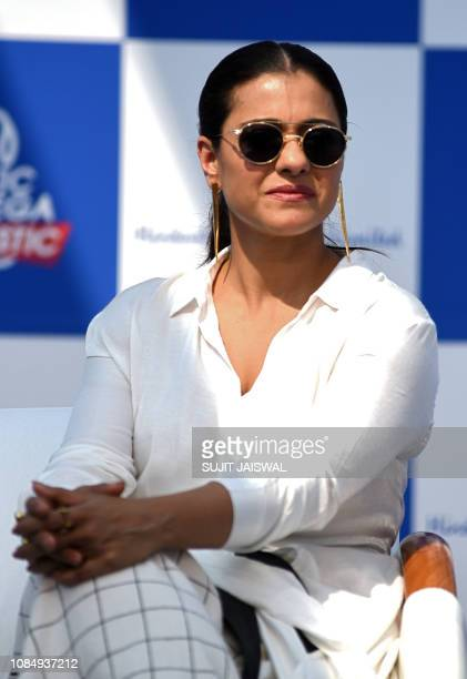 """Indian Bollywood actress Kajol Devgn attends the launch of the environmental campaign """"Start a little Good"""" during the """"Plastic Banega Fantastic""""..."""