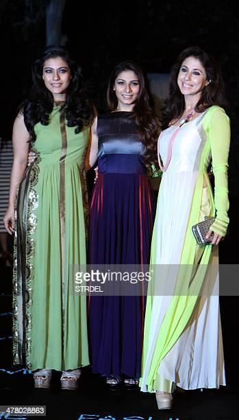 Indian Bollywood actress Kajol Devgn her sister actress Tanisha Mukherjee and actress Urmila Matondkar pose for a photograph on the first day of the...