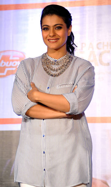 Indian Bollywood actress Kajol Devgn poses as she attends a press conference for the campaign Help A Child Reach 5 in Mumbai on March 19, 2014. AFP...