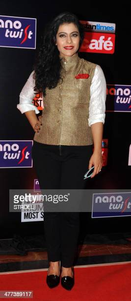 Indian Bollywood actress Kajol Devgn poses for a photograph during the HT Mumbai 'Most Stylish Awards' ceremony in Mumbai on late March 8 2014 AFP...
