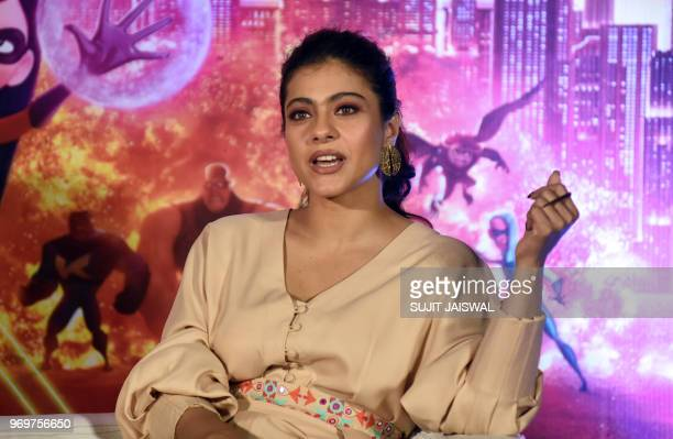 Indian Bollywood actress Kajol Devgn speaks during the trailer launch of Disney's action adventure animation Hindi version film 'Incredible 2' in...