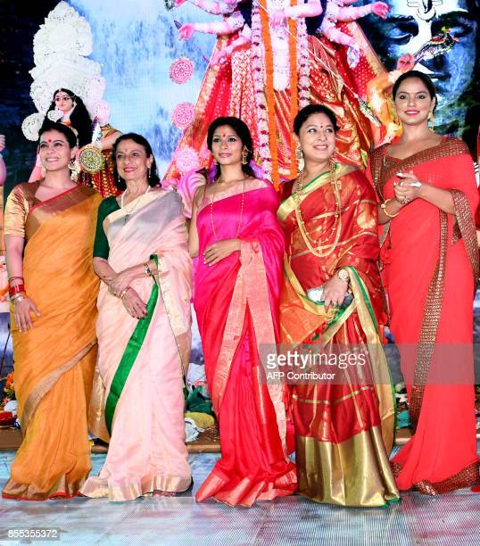 Indian Bollywood actress Kajol Devgn Tanuja Mukherjee Tanish Mukherjee Sharbani Mukherjee and Neetu Chandra attend celebrations for the Hindu Durga...
