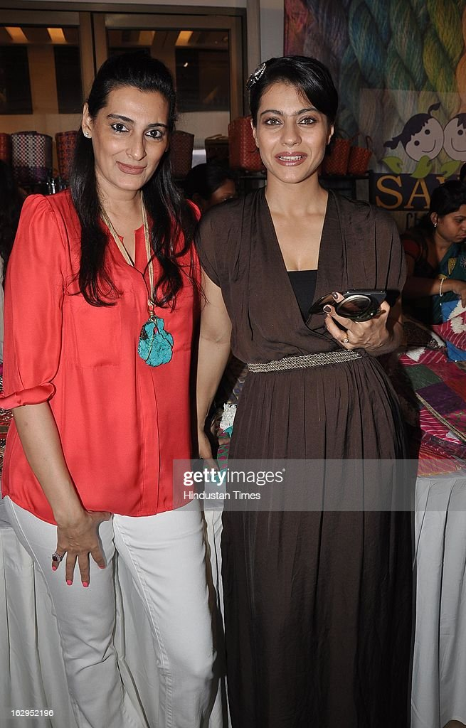Indian bollywood actress Kajol Devgn with Mana Shetty at charity exhibition `Aariash` organised by Mana Shetty for 'Save The Children' NGO at Blue...