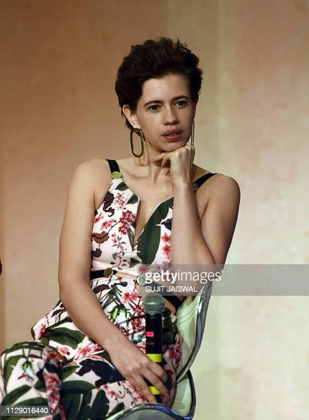 Indian Bollywood actress Kalki Koechlin attends a press conference for the launch of the Amazon Prime original series Made in Heaven in Mumbai on...