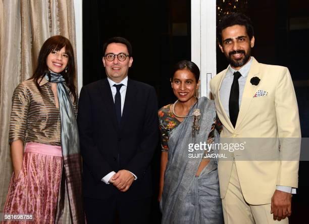 Indian Bollywood actress Kalki Koechlin France's ambassador to India Alexandre Ziegler Tillotama Shome and Gulshan Devaiya attend a ceremony to...