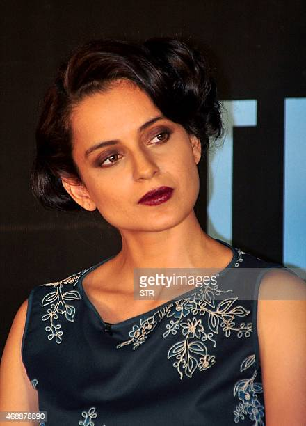 "Indian Bollywood actress Kangana Ranaut attends the unveiling of the book ""The Front Row"" by Anupama Chopra in Mumbai late on April 7, 2015. AFP PHOTO"
