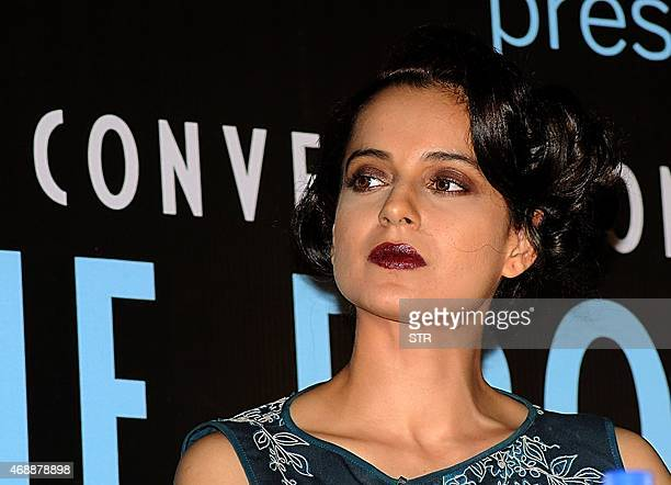 Indian Bollywood actress Kangana Ranaut attends the unveiling of the book The Front Row by Anupama Chopra in Mumbai late on April 7 2015 AFP PHOTO