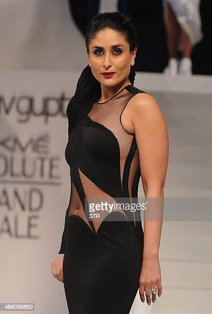 Indian Bollywood actress Kareena Kapoor as brand ambassador for Lakme showcases a creation by designer Gaurav Gupta during the Absolute Grand Finale...