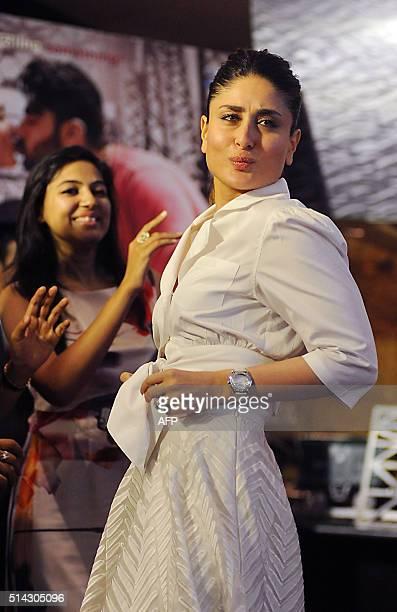 Indian Bollywood actress Kareena Kapoor dances during the promotion of the forthcoming Hindi film Ki Ka at a lunch held to mark Womens Day in Mumbai...