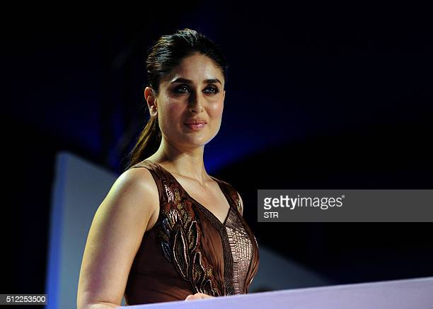 Indian Bollywood actress Kareena Kapoor Khan attends a promotional event for Magnum ice cream in Mumbai on February 25 2016 AFP PHOTO / AFP / STR