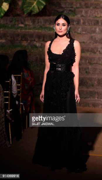 Indian Bollywood actress Kareena Kapoor Khan brand ambassador for Lakme showcases a creation by designer Anamika Khanna during the Grand Finale Lakme...