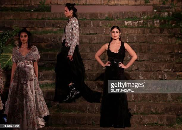 Indian Bollywood actress Kareena Kapoor Khan brand ambassador for Lakme showcases a creation by designer Anamika Khanna during the Grand Finale Lakme...