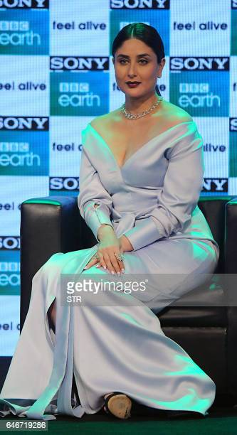 Indian Bollywood actress Kareena Kapoor Khan poses during a promotional event for entertainment channel Sony BBC Earth in Mumbai on March 1 2017 /...