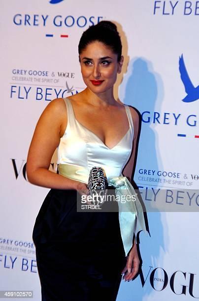 Indian Bollywood actress Kareena Kapoor Khan poses during the Grey Goose Fly Beyond Awards ceremony in Mumbai late November 16 2014 AFP PHOTO/STR