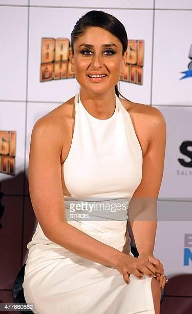 Indian Bollywood actress Kareena Kapoor Khan poses during the trailer launch of the forthcoming Hindi film Bajrangi Bhaijaan directed by Kabir Khan...