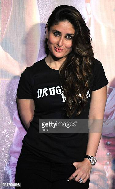 Indian Bollywood actress Kareena Kapoor Khan poses during the trailer launch of the forthcoming Hindi film Udta Punjab written and directed by...