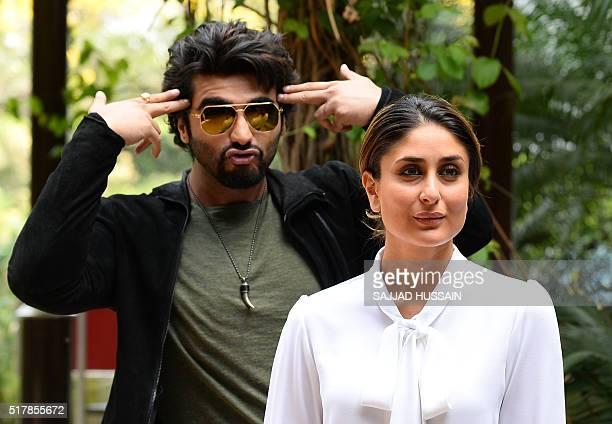 Indian Bollywood actress Kareena Kapoor Khan poses with actor Arjun Kapoor to promote their upcoming Hindi movie Ki Ka in New Delhi on March 28 2016...