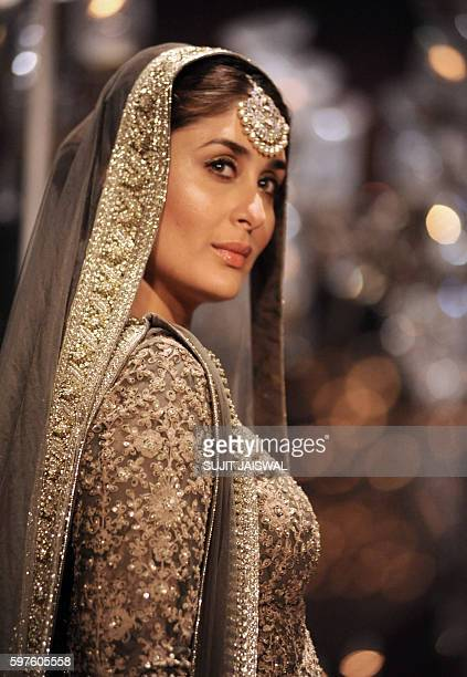 Indian Bollywood actress Kareena Kapoor Khan showcases a creation by designer Sabyasachi at Lakme Fashion Week Winter/Festive 2016 in Mumbai on late...