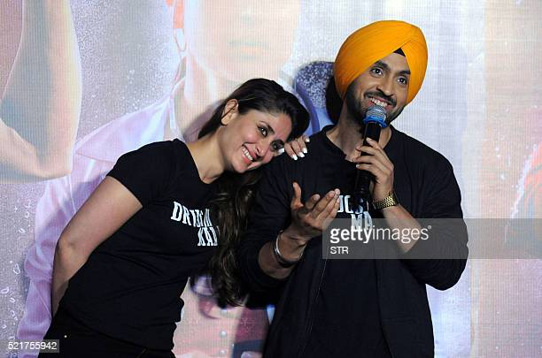 Indian Bollywood actress Kareena Kapoor Khanposew with Punjabi singer and actor Diljit Dosanjh during the trailer launch of the forthcoming Hindi...