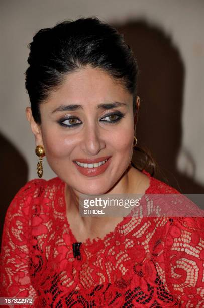 Indian Bollywood actress Kareena Kapoor looks on during a promotional event for the forthcoming Hindi film Gori Tere Pyaar Mein directed by Punit...